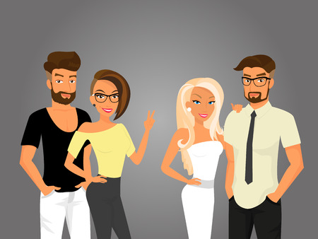 Hipster guys and their pretty girlfriends are going out Vector