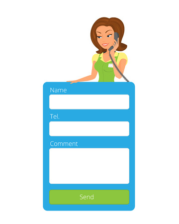 Feedback form for website with female receptionist.