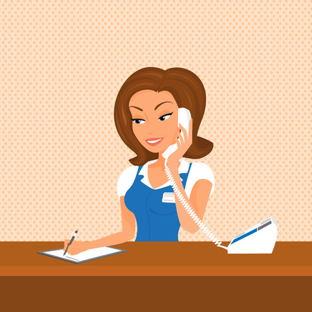 business reception: Female receptionist is taking a call writing down info.