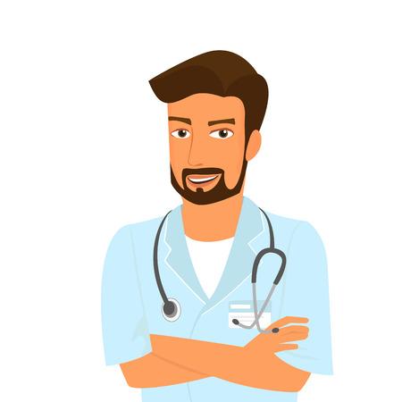Lächelnden männlichen Arzt trägt Bart isoliert auf weiß.