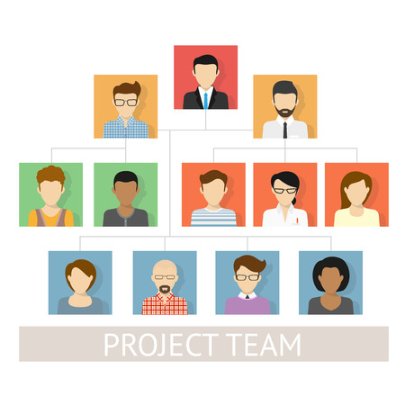 financial consultant: Vector illustration of project team organization. Flat avatars