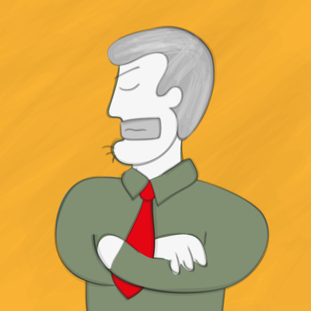 embargo: Business man with locked mouth protests. Conceptual illustration.