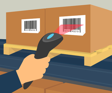 Human hand is scanning a box with barcode at the warehouse. Vector