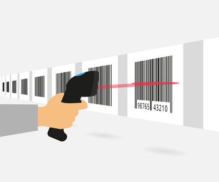 number code: Barcode scanning on the conveyor. Concept illustration