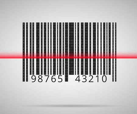 laser tag: Barcode scanning icon with red laser line