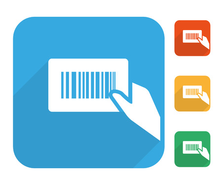 number icons: Barcode label with human hand icon multi color set.