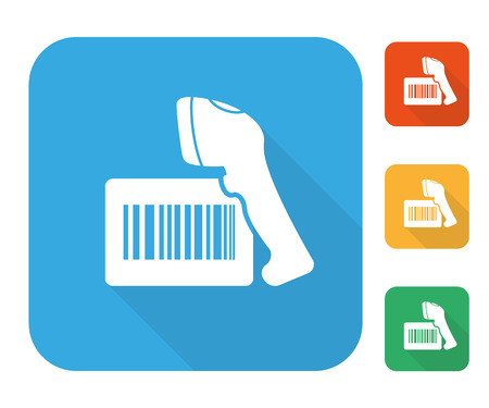 reader: Barcode label with reader icon set multi color set.