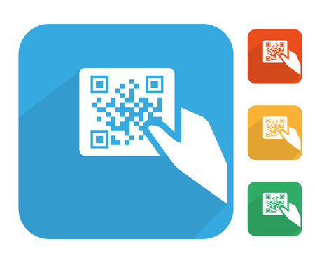 Qr code label with human hand icon multi color set. Vector