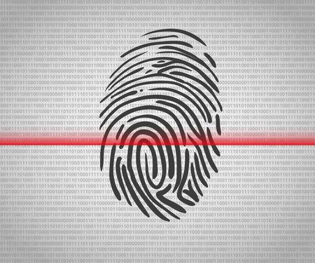 thumbprint: Fingerprint scanning icon with red laser line Illustration