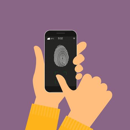 illustration of identification of fingerprint on smartphone. Vector