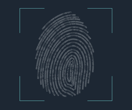 identity protection: illustration of identification of fingerprint biometric. Illustration
