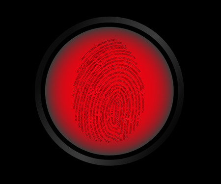 theft proof: illustration of red button fingerprint biometric not identified.