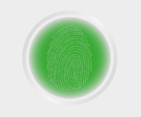 identified: illustration of green button fingerprint biometric identified.