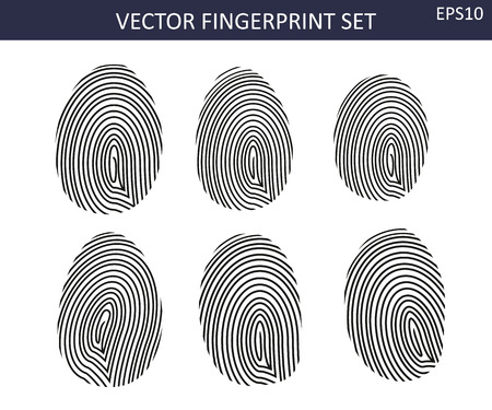 Biometric balck fingerprints  set - six different icons