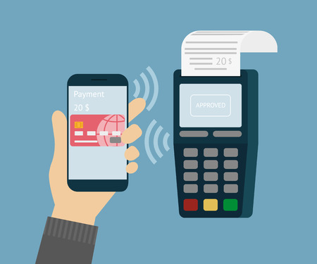 paying: illustration of mobile payment via smartphone. Illustration