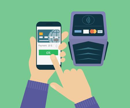 checkout: illustration of mobile payment via smartphone. Illustration