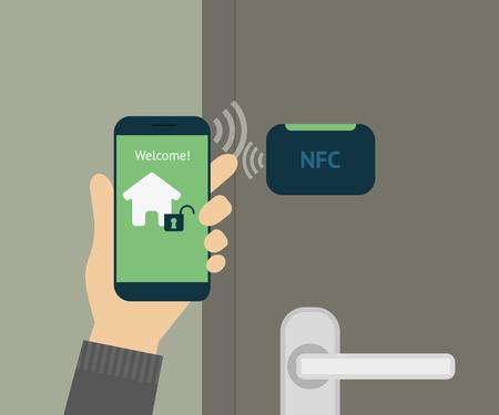 illustratie van de mobiele ontsluiting thuis deur via de smartphone. Vector Illustratie