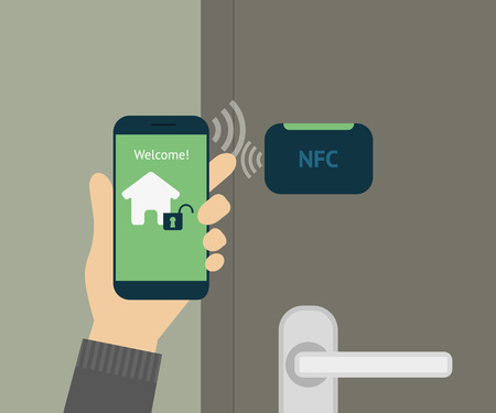 illustration of mobile unlocking home door via smartphone. Vector