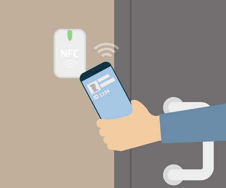 illustration of mobile unlocking a door via smartphone. Illustration