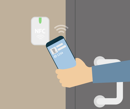 illustration of mobile unlocking a door via smartphone. Vectores