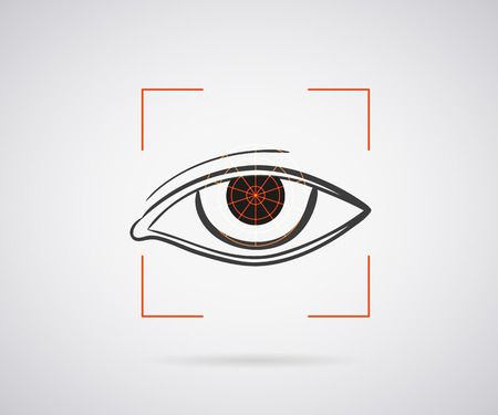 identification: Eye identification icon with red laser frame Illustration