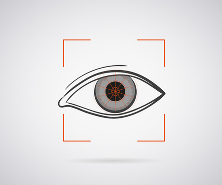 Eye identification icon with red laser light Vector
