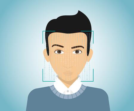 若い男の顔の識別。  イラスト・ベクター素材
