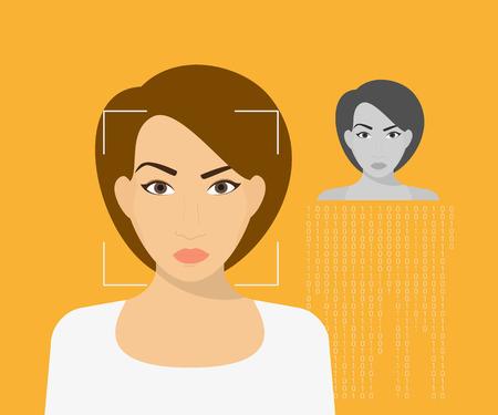 reconocimiento: La identificación de la cara de la mujer joven. Ilustración vectorial