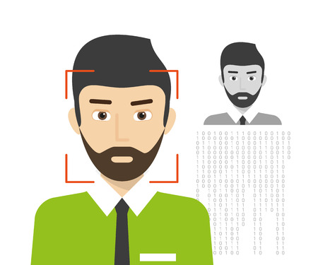 identify: Face identification of man wearing beard.  Illustration