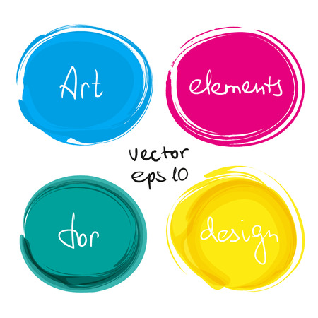paint drop: Circle paint drop set for design - four elements