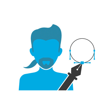 digitizer: Blue icon of illustrator wearing beard and small ponytail holds pen tool Illustration