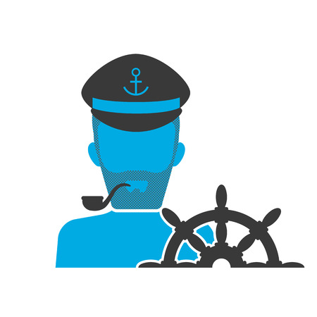 captain: Blue icon of captain wearing hat with helm