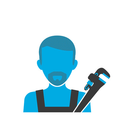 pipe wrench: Blue icon of maintenance plumber wearing uniform with spanner Illustration