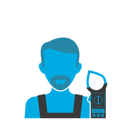 plug hat: Blue icon of maintenance electrician wearing uniform with multimeter Illustration