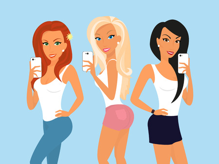 blonde hair cartoon: Three girls are doing selfie for social networks