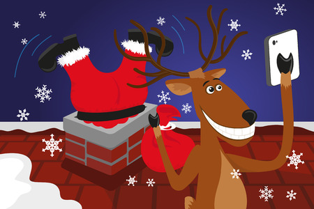 mrs: Funny christmas reindeer is doing selfie for social networks