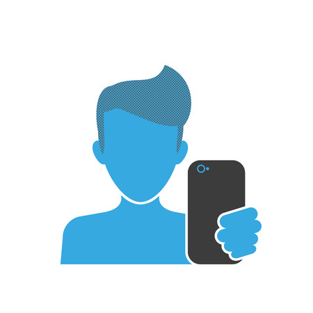 Blue icon of selfie for men with smartphone