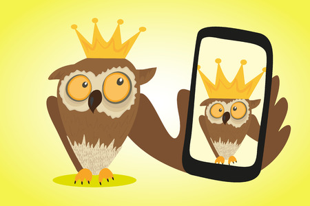 Gekke uil is Selfie voor sociale netwerken doen