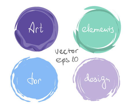 paint drop: Circle paint drop set for design - four elements cold colors