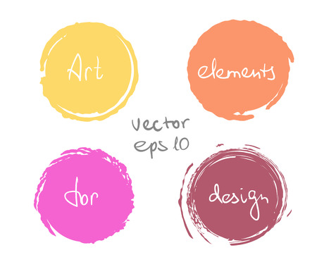 paint drop: Circle paint drop set for design - four elements pastel color