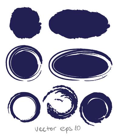 Gota de tinta Círculo establecer para el diseño - siete elementos handdrawn Ilustración de vector