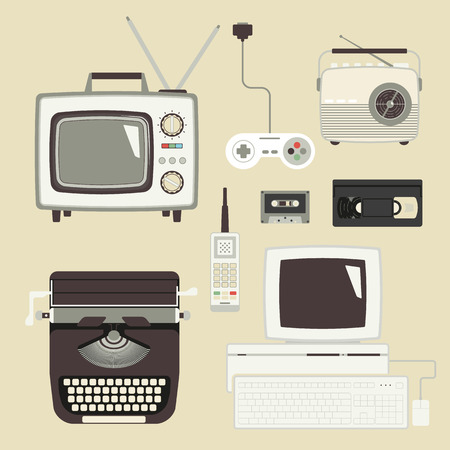 old office: Retro devices collection of tv, radio, gamepad, audio cassette, mobile phone, typewriter and pc Illustration