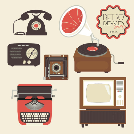 phonograph: Retro devices collection of tv, radio, gamepad, audio cassette, mobile phone, typewriter and pc Illustration
