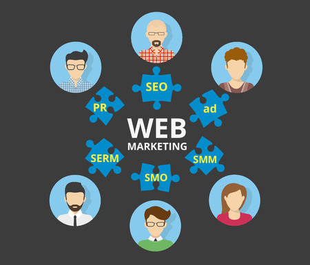pr: Infographic illustration of web marketing us puzzles SEO SMO SMM SERM and PR