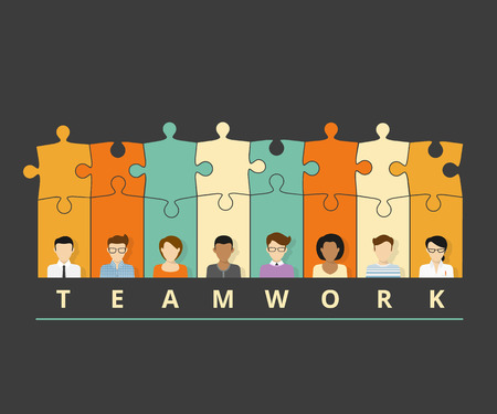 group of elements: Vector illustration of project team with puzzles. Flat avatars Illustration