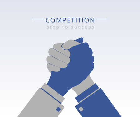 Conceptual Illustration of competition between two business mans  イラスト・ベクター素材