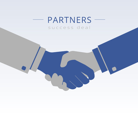 Two business partners agreed a deal and doing handshaking Vectores