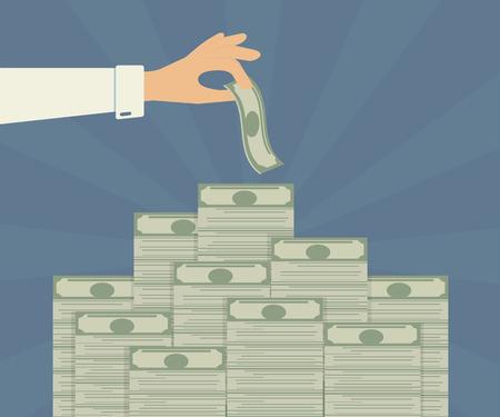 cash money: La mano del hombre toma el dinero de depósito bancario Vectores