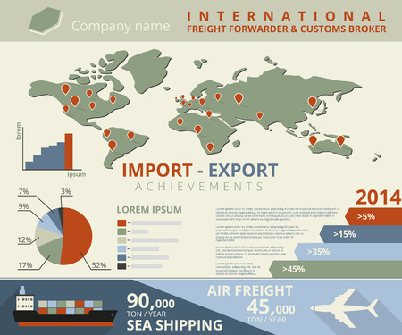 import trade: Infographic illustration of import and export achievements for freight forwarder and customs broker