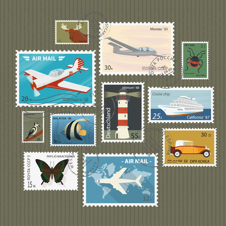 postage stamp: Retro postage stamps collection on textured paper